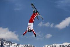 CHIESA VALMALENCO: Freestyle Ski FIS European Cup, athlete jump Stock Photo