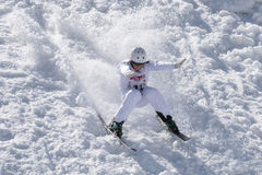 CHIESA VALMALENCO: Freestyle Ski FIS European Cup, athlete jump Royalty Free Stock Photography