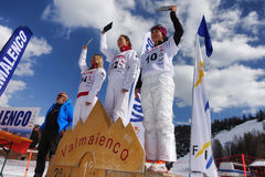 CHIESA VALMALENCO: Freestyle Ski FIS European Cup, prize giving ceremony Royalty Free Stock Image