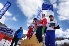 CHIESA VALMALENCO: Freestyle Ski FIS European Cup, prize giving ceremony Stock Image