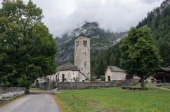 Chiesa Vecchia. Small Romanesque village church in Staffa, Ðœacugnaga, which.lies at the foot of Monte Rosa, Italy. Chiesa Vecchia. Small Romanesque village royalty free stock photo