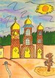 Chiesa, vernice disegnata a mano. Immagini Stock