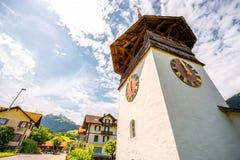 Chiesa in villaggio svizzero fotografia stock