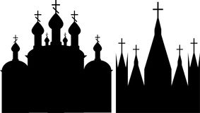 Chiese cristiane ortodosse e cattoliche Fotografia Stock Libera da Diritti