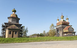 Chiese di legno antiche in Russia del nord Fotografia Stock
