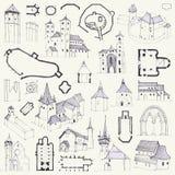 Chiese fortificate Passi il disegno dei piani, delle elevazioni, delle prospettive e dei dettagli illustrazione di stock