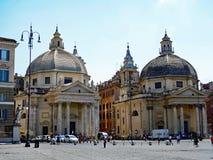 Chiese gemellate, Piazza del Popolo, Roma, Italia Immagine Stock Libera da Diritti