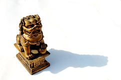 Chinese guardian lion. Photography of chinese guardian lion isolated on white background royalty free stock photos