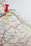 Chieti pinned on a map of Italy. Road map of the city of Chieti Italy Royalty Free Stock Photography