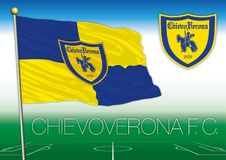 CHIEVO, VERONA, ITALY, YEAR 2017 - Serie A football championship, 2017 flag of the Chievo Verona team. Chievo FC football club flag and seal, vector file Royalty Free Stock Photos