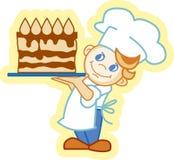 Chif met cake Royalty-vrije Stock Foto's