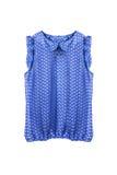 Chiffon blouse. Chiffon sleeveless blue blouse  over white Stock Photos