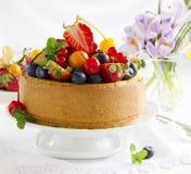 Chiffon cake with summer berries Stock Photo