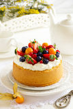 Chiffon cake with summer berries Royalty Free Stock Image
