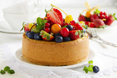Chiffon cake with summer berries. And cream Royalty Free Stock Photos
