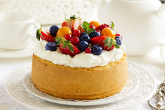 Chiffon cake with summer berries Royalty Free Stock Photo