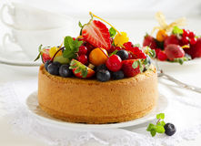 Chiffon cake with summer berries Stock Images