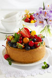 Chiffon cake with summer berries Royalty Free Stock Photography