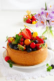 Chiffon cake with summer berries Stock Photography