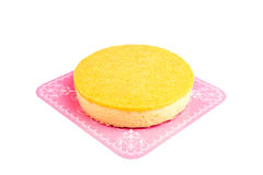Chiffon cake with sweet shredded egg yolk isolated on white back Royalty Free Stock Photo