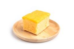 Chiffon cake with sweet shredded egg yolk  on white back Stock Photography