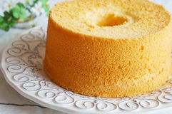 Chiffon Cake. Vanilla chiffon cake on a white plate Royalty Free Stock Photography