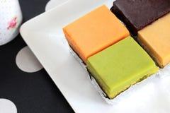 Chiffon Cakes. Colorful of Chiffon Cake on Plate Royalty Free Stock Photo