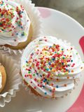 Chiffon cupcake. With rainbow topup Stock Images