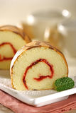 Chiffon Roll cake. Slice of a delicious and soft chiffon roll cake Royalty Free Stock Photos