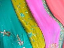 Chiffon Saris. Closeup of chiffon saris with embroidery Stock Image