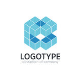 Chiffre éléments de cube en lettre B de calibre de conception d'icône de logo Photos libres de droits