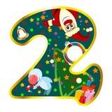 Chiffre 2 avec des symboles de Noël Photos stock