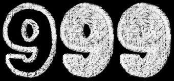 Chiffre arabe 9 de craie blanche manuscrite Image libre de droits