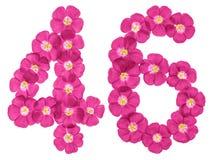 Chiffre arabe 46, quarante-six, des fleurs roses du lin, d'isolement sur le fond blanc illustration stock