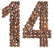 Chiffre arabe 14, quatorze, des grains de café, d'isolement sur le petit morceau Photo stock