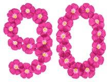 Chiffre arabe 90, quatre-vingt-dix, des fleurs roses du lin, d'isolement sur le fond blanc illustration libre de droits