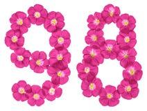 Chiffre arabe 98, quatre-vingt-dix-huit, des fleurs roses du lin, d'isolement sur le fond blanc illustration de vecteur