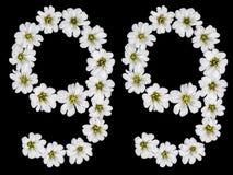Chiffre arabe 99, quatre-vingt-dix-neuf, quatre-vingt-dix, neuf, des fleurs blanches Photographie stock libre de droits
