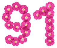 Chiffre arabe 91, quatre-vingt-dix un, des fleurs roses du lin, d'isolement sur le fond blanc illustration stock