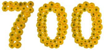 Chiffre arabe 700, sept cents, des fleurs jaunes du beurre Photos libres de droits