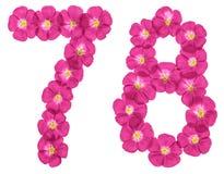 Chiffre arabe 78, soixante-dix-huit, des fleurs roses du lin, d'isolement sur le fond blanc illustration libre de droits