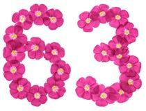 Chiffre arabe 63, soixante-trois, des fleurs roses du lin, d'isolement sur le fond blanc illustration libre de droits