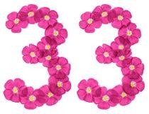 Chiffre arabe 33, trente-trois, des fleurs roses du lin, d'isolement sur le fond blanc illustration libre de droits