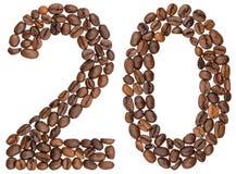 Chiffre arabe 20, vingt, des grains de café, d'isolement sur le blanc Photographie stock libre de droits