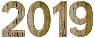 Chiffre 2019 avec un modèle abstrait d'une surface en bois, isola Photographie stock