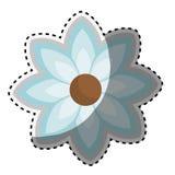 Chiffre bleu icône de silhouette d'autocollant de fleur florale Images libres de droits