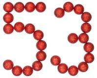 Chiffre 53, cinquante-trois, des boules décoratives, d'isolement sur le petit morceau Image stock