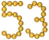 Chiffre 53, cinquante-trois, des boules décoratives, d'isolement sur le petit morceau Images stock