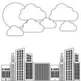 chiffre constructions avec l'icône de nuage et de soleil Image stock