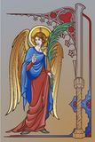 Chiffre d'ange avec la branche de geste et de paume de bénédiction avec un cadre gothique illustration libre de droits